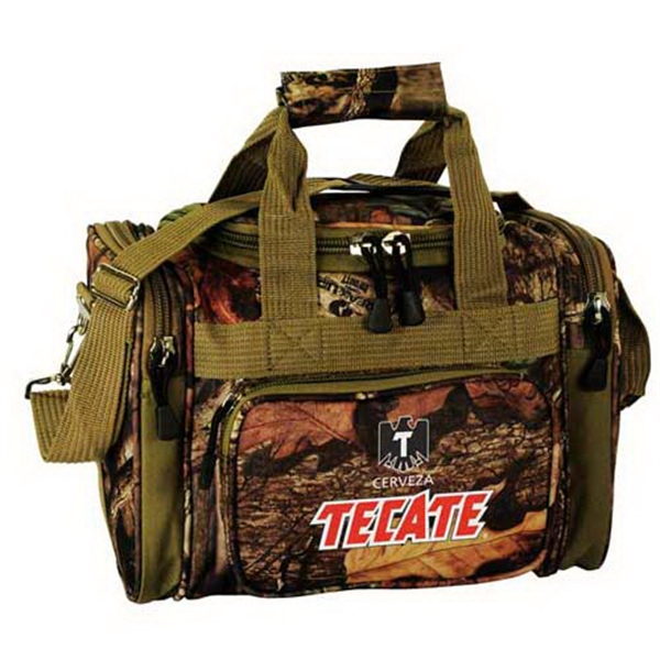 "Imprinted Mossy Oak (R) camo 13"" outdoor duffel"