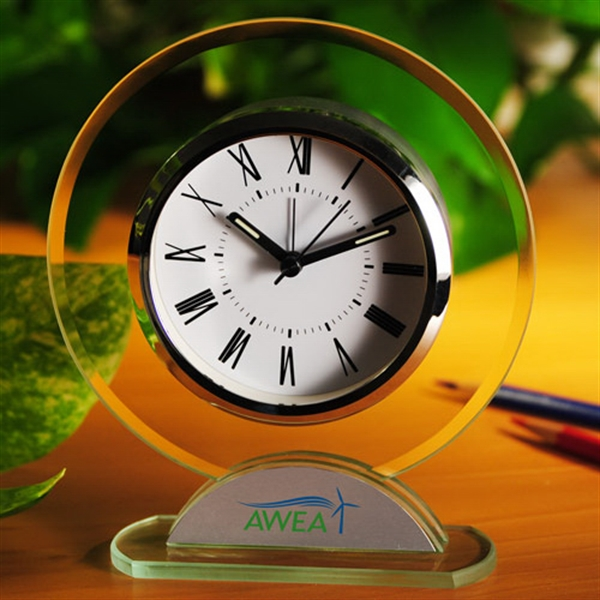 Imprinted Round shaped glass table alarm clock