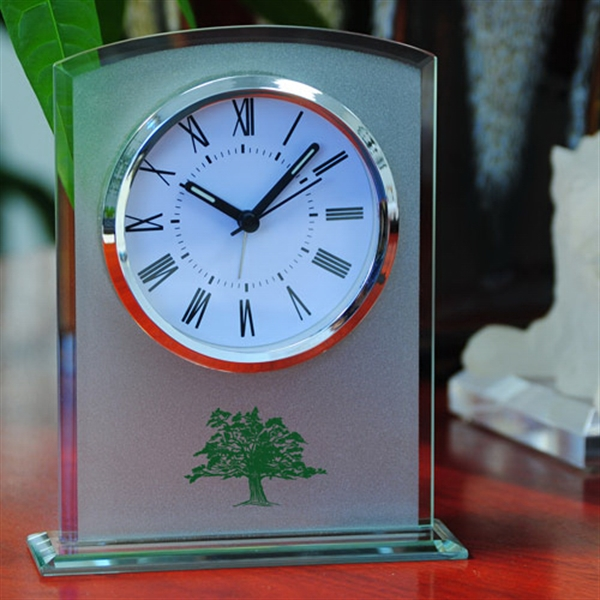 Promotional Glass table alarm clock with sandblast finish