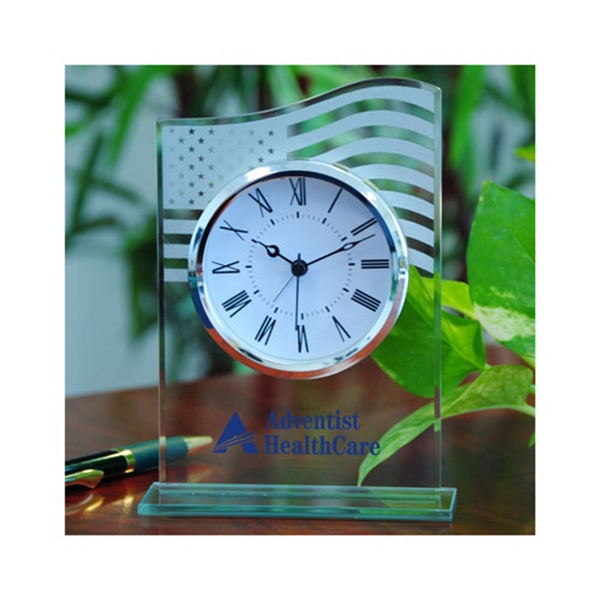 Printed Glass table alarm clock with US flag