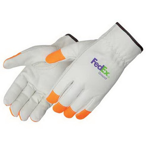 Imprinted Premium grain cowhide driver glove with Fluorescent orange