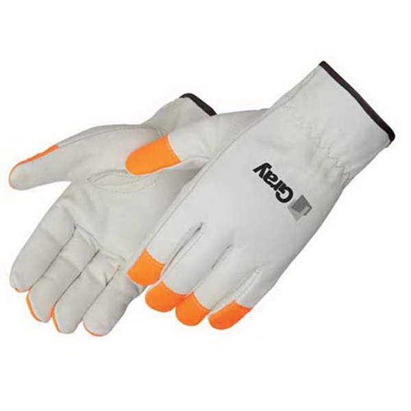 Imprinted Standard grain cowhide driver glove with Fluorescent orange