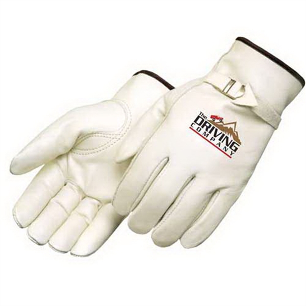 Imprinted Premium grain cowhide driver glove with pull strap