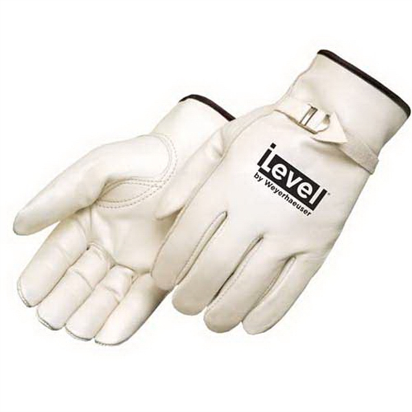 Printed Standard grain cowhide driver glove with pull strap