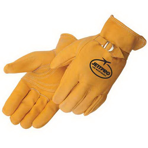 Custom Golden grain cowhide double palm driver glove,Kelvar thread