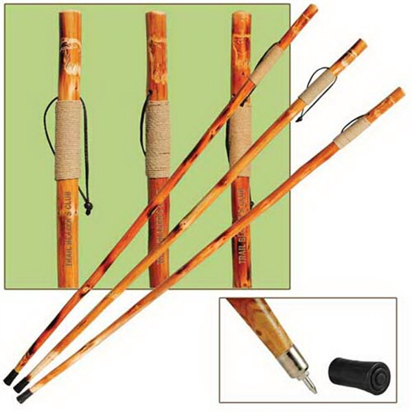 "Customized 55"" wooden hiking/walking stick with rope-wrapped grip"