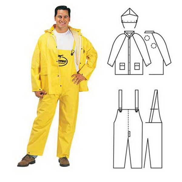 Customized PVC/polyester 3-piece yellow rainsuit