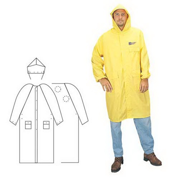 Promotional PVC/Polyester 2-piece yellow raincoat