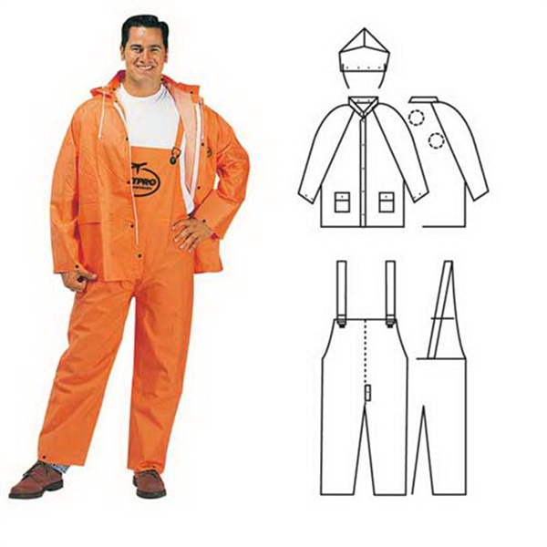 Printed PVC/polyester 3-piece orange rainsuit