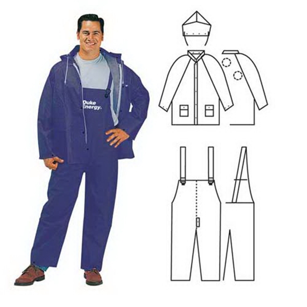Promotional PVC/polyester 3-piece blue rainsuit