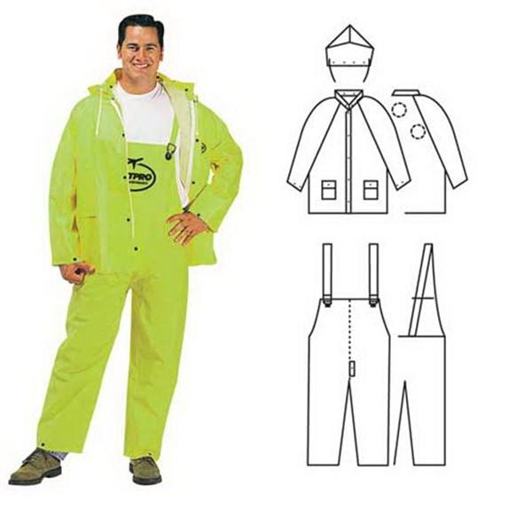 Promotional PVC/polyester 3-piece lime rainsuit