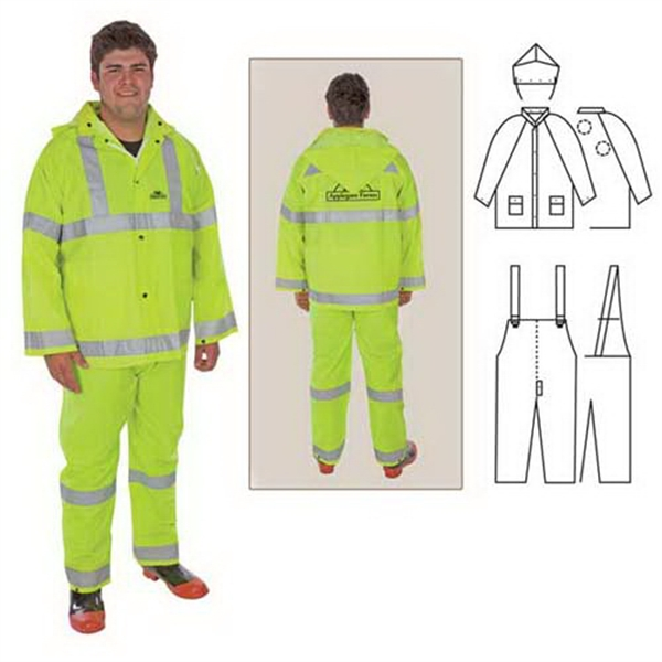 Customized PVC/polyester 3-piece rainsuit with reflective stripes