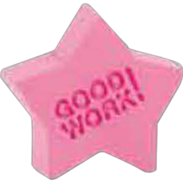 Printed Good Work Star Pencil Top Eraser