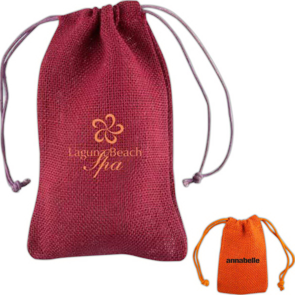 Custom Jute Amenity Drawstring Bag