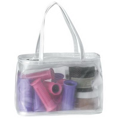 Promotional White cosmetic zipper tote