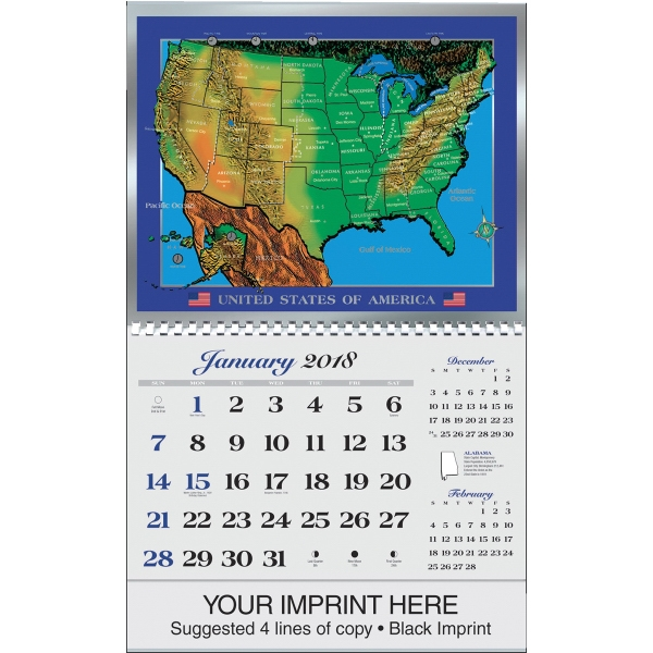 Custom U.S. Map Foil-Etch (TM) Calendar
