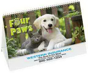 Printed Four Paws Desk Calendar