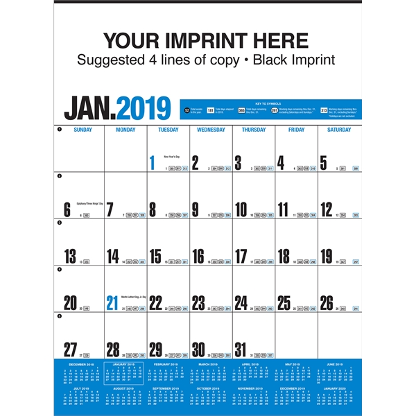Personalized Yearly Record (TM) Blue Calendar