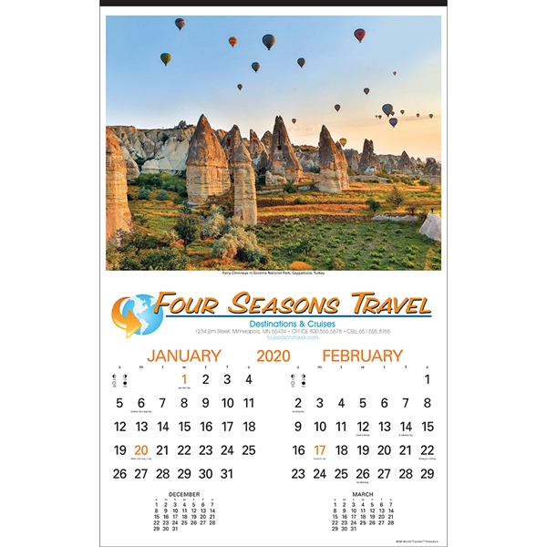 Printed World Traveler Executive Calendar