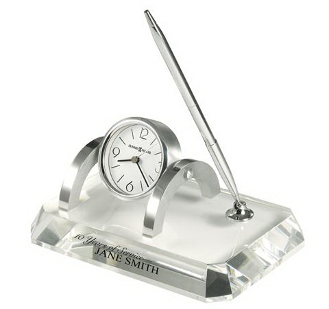 Imprinted Prominence Desk Set (Crystal Award Clock)