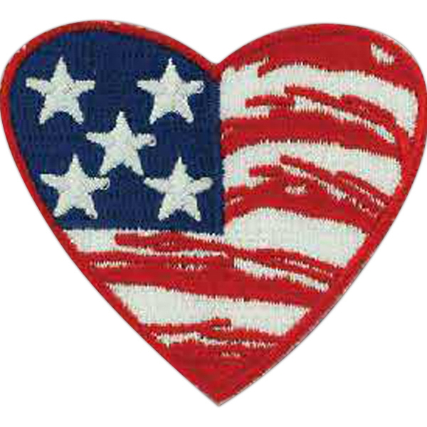 Promotional Patriotic Line Embroidered Heart Flag Patch