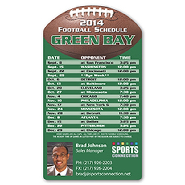 Imprinted Football Sports schedule magnet
