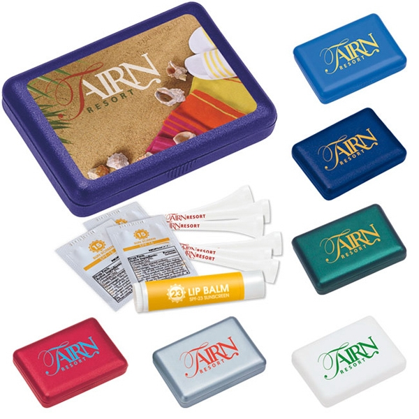 Imprinted Compact First Aid Sun Tee Kit