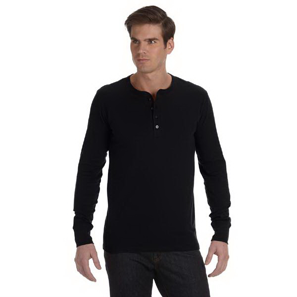 Personalized Men's 4.2 oz. Long Sleeve Jersey Henley