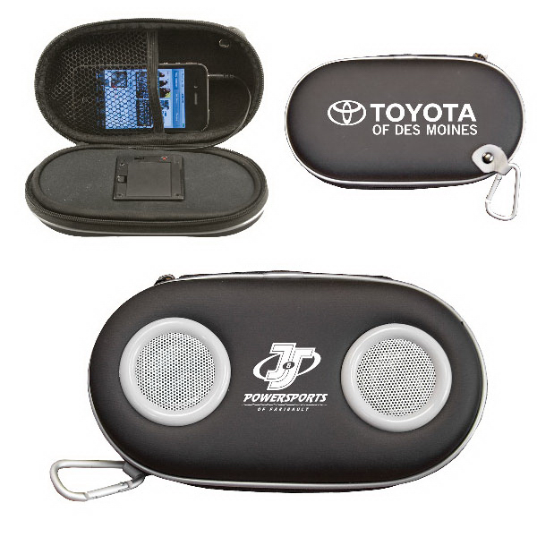 Promotional Portable Amplified Stereo Speaker Case with Carabiner Clip