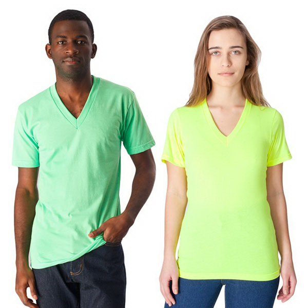 Personalized Poly-Cotton Short Sleeve  V-Neck T-Shirt