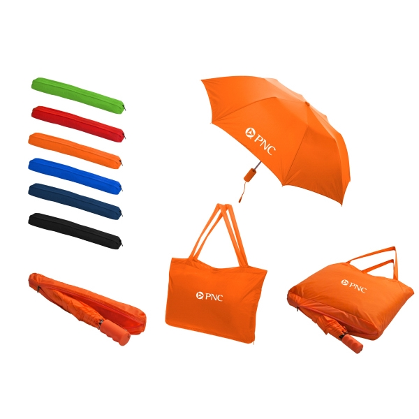 Imprinted All-In-One Tote Bag/Folding Umbrella