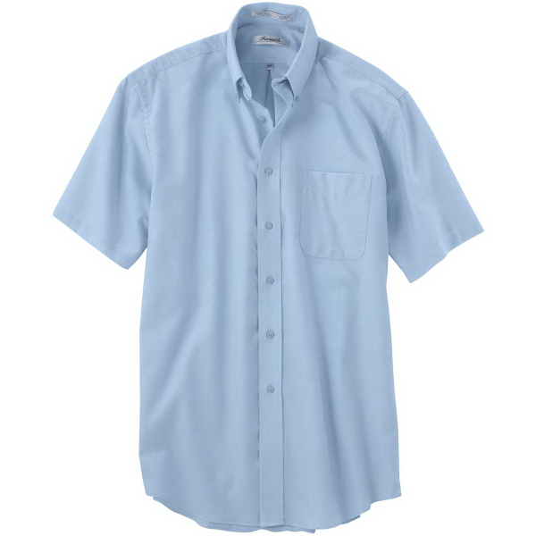 Printed Men's Short Sleeve Solid Oxford Sport Shirt