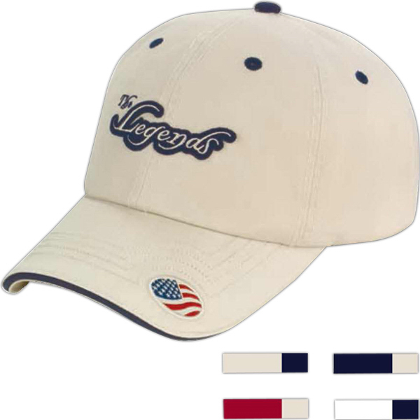 Personalized Washed Twill Cap with Sandwich Bill and Flag Visor Applique