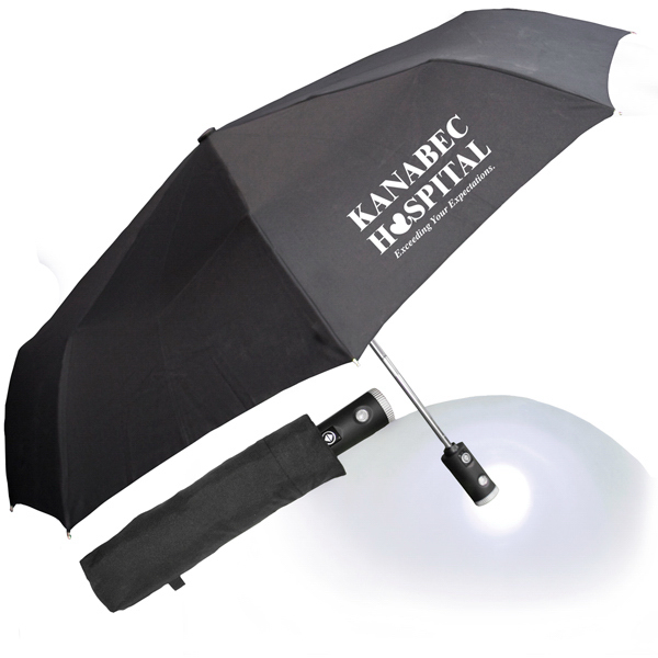 "Printed 43"" Auto Open and Close Umbrella Flashlight with Case"