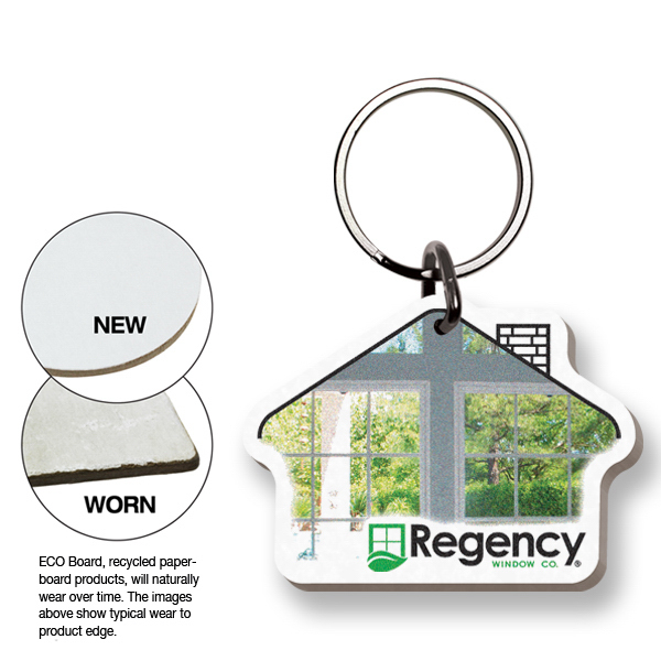 Imprinted ECO Key Tag - House - Full Color