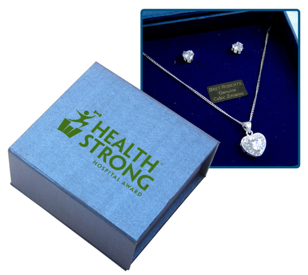 Personalized Cubic Zirconia Heart Earrings and Necklace