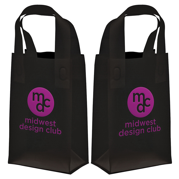 Customized Soft Loop Frosted Shopper 1-Color Hot Stamp Foil