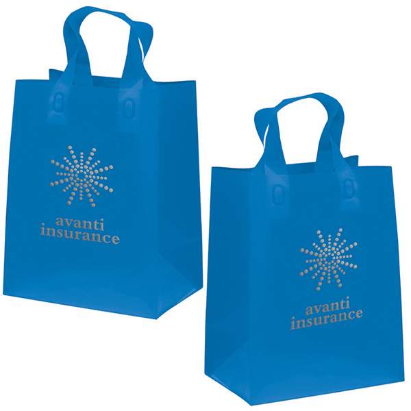 Promotional Soft Loop Frosted Shopper 1-Color Hot Stamp Foil
