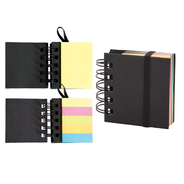 Customized Spiral sticky 250 sheet notepad with note flags