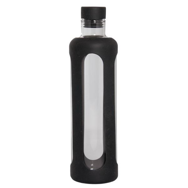 Imprinted 600 ml (20 oz) Glass Water Bottle with Silicone Sleeve