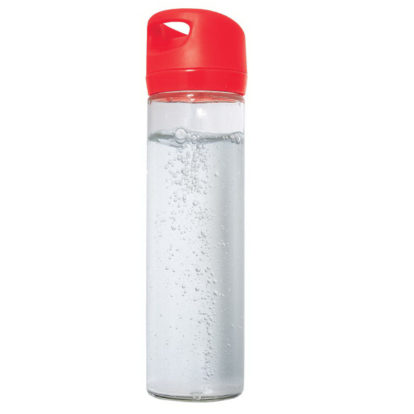 Imprinted 500 ml (16 oz) single wall glass wide mouth water bottle