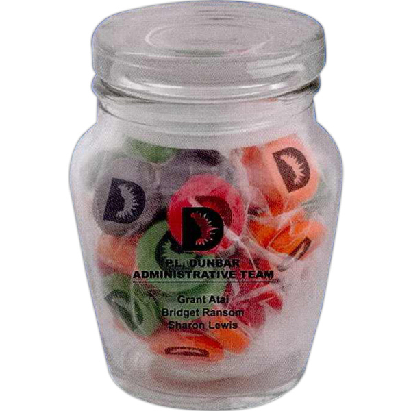Promotional Curvy Printed Candy Jar - Chewy Sprees