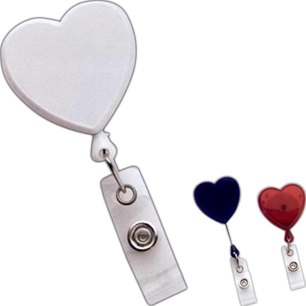 Personalized Multi-Color-Domed Heart Retractable Reel