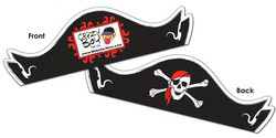 "Custom Paper Pirate Hat UV coated - 15"" x 4 1/2""  (folded)"