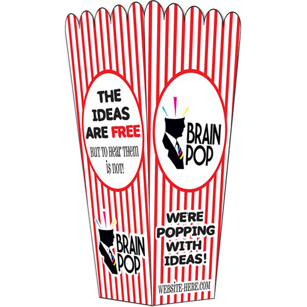 Printed Popcorn Box - UV Coated - 4x8 (folded)
