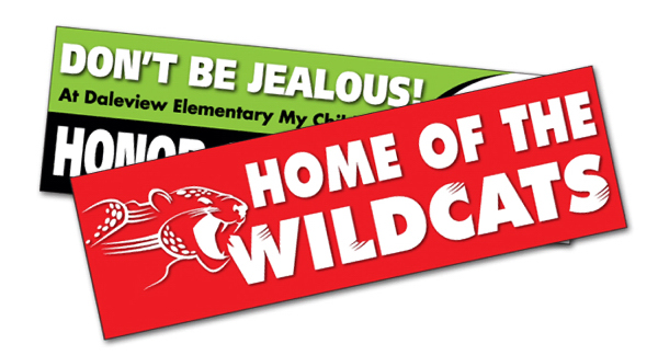 "Printed 8 5/8"" x 2 1/2"" UV Coated Vinyl Bumper Sticker"