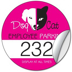 Promotional White Vinyl Parking Permit Sticker-3.25 Inch Diameter Circle