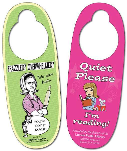 Printed Door Hanger - 3x8 Extra-Thick Oval Shape - 24 pt