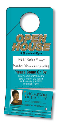 Promotional Door Hanger -Extra-Thick Laminated/Slit, Business Card