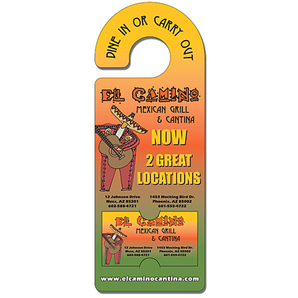 Custom Door Hanger - 4x10.5 Extra-Thick Laminated / Rounded Handle